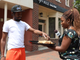 Delawareans sample the new Impossible Whopper from News Journal reporter Marina Affo on Market Street in Wilmington on Monday, August 5.
