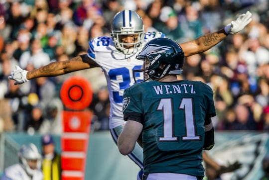 Orlando Scandrick rushes in on Carson Wentz during an October 2017 game in Philadelphia. Scandrick signed with the Eagles on July 27 after spending the first 10 of his 11 seasons with the Dallas Cowboys.