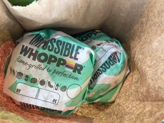 Two of Burger King's latest serving, the plant-based Impossible Whopper in New Castle on Monday, August 5, 2019.