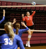 Holliday's Gracie Story jumps to spike the ball against  Windthorst Tuesday, Aug. 6, 2019, at Battle in the Dome hosted by Midwestern State University in D.L. Ligon Coliseum.