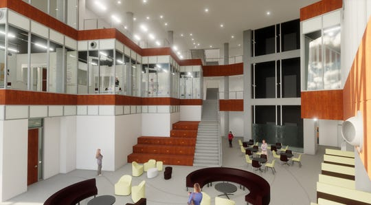 The MSU Texas Board of Regents approved a 10-year corporate sponsorship agreement Thursday for the United Regional Interprofessional Education Suite in the new health sciences building that will open this fall.  This depicts the lobby of Centennial Hall.