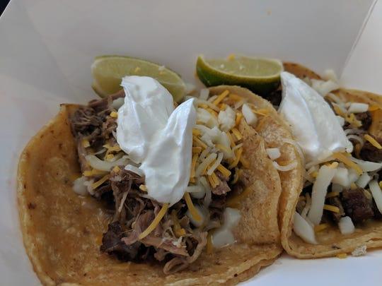Beef fajita and shredded beef tacos at El Taco Loco Taqueria.