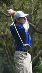 West Muskingum's John Kelso Agriesti tees off the 18th hole at Jaycees during Tuesday's MVL Vejsicky Memorial tournament.
