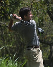 Tri-Valley's Owen Campbell tees off the 18th hole at Jaycees during Tuesday's MVL Vejsicky Memorial tournament.