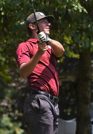 John Glenn's Steele Paden tees off the 18th hole at Jaycees during Tuesday's MVL Vejsicky Memorial tournament.