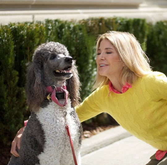 Author Candace Bushnell with her dog Prancer.