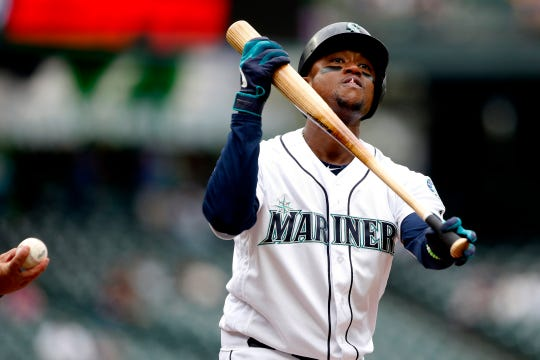 Seattle Mariners left fielder Tim Beckham (1) reacts after striking out against the Detroit Tigers during the second inning at T-Mobile Park.
