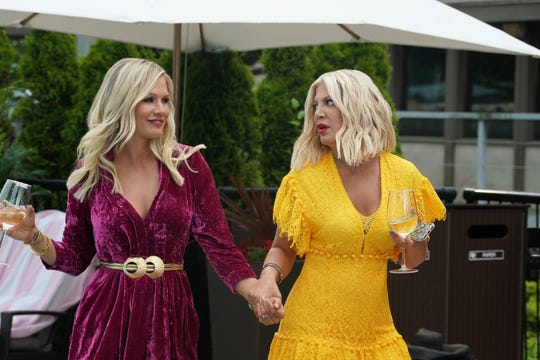 "Jennie Garth and Tori Spelling in ""BH 90210."""