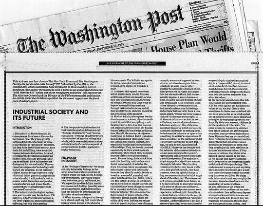 On Sept. 19, 1995, The Washington Post published the so-called manifesto of the Unabomber.