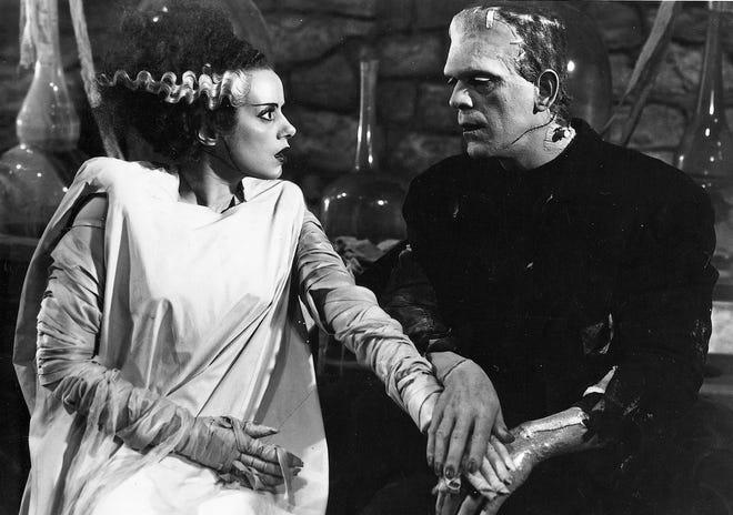"""The Bride of Frankenstein"" starred Elsa Lanchester as the Bride and Boris Karloff as Frankenstein's Monster."