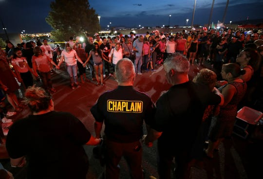 Vigil on Aug. 5, 2019, outside the Walmart where the mass shooting took place in El Paso, Texas.