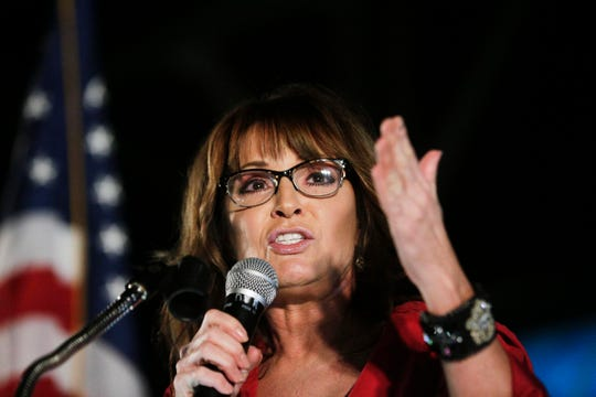 In this Sept. 21, 2017, file photo, former vice presidential candidate Sarah Palin speaks at a rally in Montgomery, Ala.