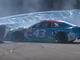 Aug. 4: Bubba Wallace plows into the tire barrier at Watkins Glen International after contact from Kyle Busch (not pictured) during the Go Bowling at The Glen.