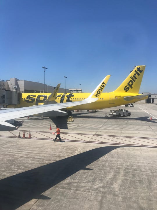 Spirit Airlines' jets at Los Angeles International Airport.