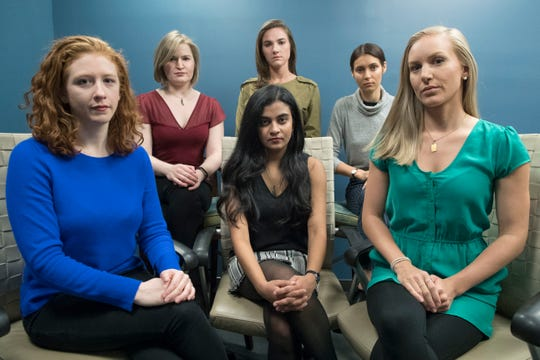 In this Wednesday, Nov. 14, 2018 file photo, from left back row, Annemarie Brown, Andrea Courtney, and Marissa Evans, and from left front row, Sasha Brietzke, Vassiki Chauhan, Kristina Rapuano, pose in New York.