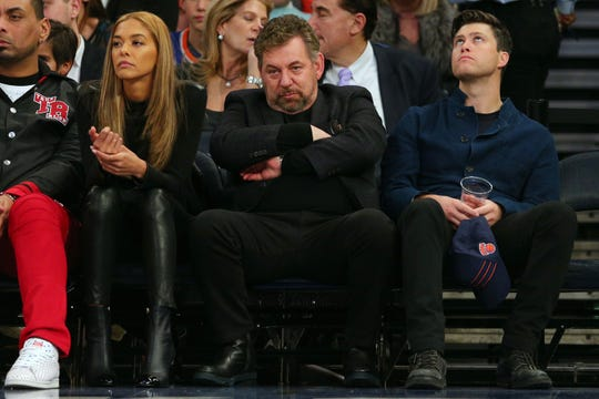 New York Knicks executive chairman James Dolan watches during the second quarter against the Boston Celtics at Madison Square Garden.