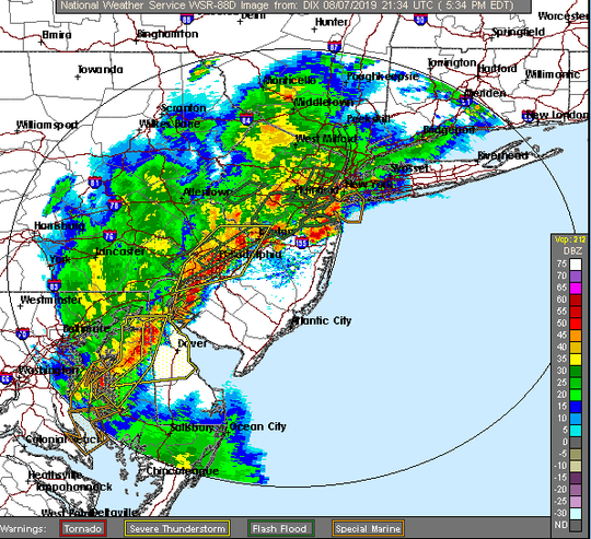 Thunderstorms moving across New Jersey.