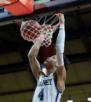 Ranney's Phillip Wheeler dunks during second half action. Bergen Catholic Boys Basketball vs Ranney in 2019 NJSIAA Tournament of Champions Boys Final in Piscataway, NJ  on March 17, 2019.