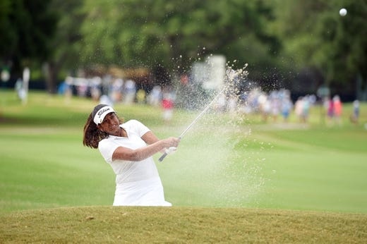 Holmdel 15-year-old Megha Ganne hits out of a bunker on the 16th hole during the second round of the U.S. Women's Open in June at the Country Club of Charleston.