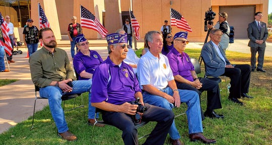 Recipients of the Purple Heart were honored at a special ceremony Wednesday at the Taylor County Courthouse. Pictured on the front row, from left, are recipients Mike Hernandez, Rocky Jay and John Moreno. Also on the front row is former Veterans Service Officer Jimmy Defoor. Lori Grumet, Abilene's city librarian and historian for the Military Order of the Purple Heart Chapter 1937.