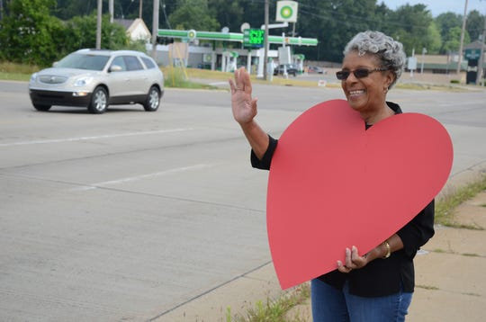 Thelma Vaughn said passing motorists seemed to appreciate the demonstrations of love on Wednesday.