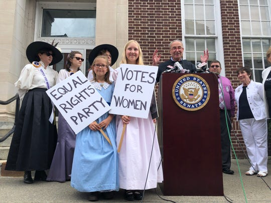 The Owego post office, which U.S. Sen. Charles Schumer visited Wednesday,  could be renamed to honor feminist Belva Lockwood.