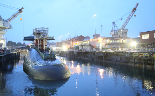 The USS Michigan arrived at a Puget Sound Naval Shipyard dock July 10 to begin work on an overhaul.