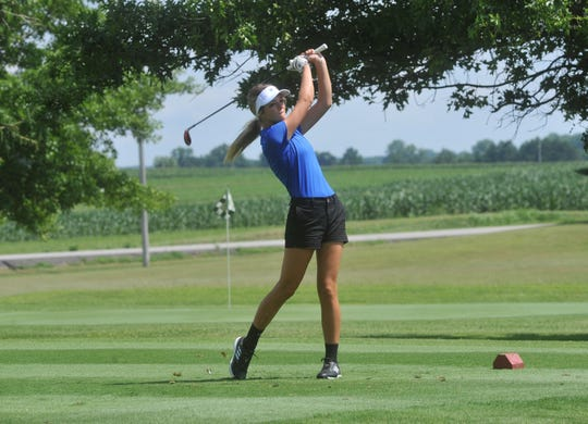 Wynford's Gabby Johnson tees off on the fifth hole at Cranberry Hills.