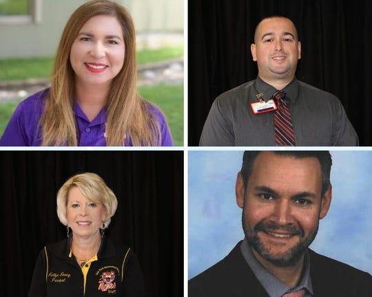 Clockwise from upper left, Laura Perales, principal, Oak Park Elementary School; John Prezas, principal, Sterling B. Martin Middle School; Kellye Loving, principal, Early Childhood Development Center; Werner Hartman, principal, Driscoll Middle School.