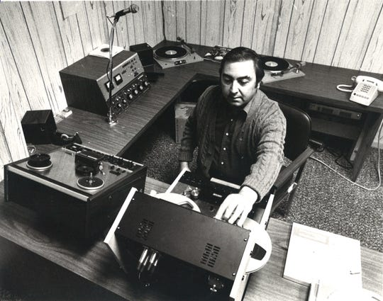 Lee Martinez, general manager of Freddie Records and Freddie Martinez Sr.'s brother, listens to demo tapes at the studio headquarters on South Padre Island Drive in November 1979.