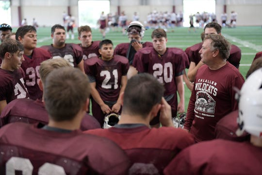 Calallen High School hosts a football practice, Wednesday, Aug. 7, 2019.