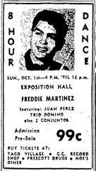 An ad for a dance at Corpus Christi's Exposition Hall featuring Freddie Martinez ran in the Sept. 30, 1961 Corpus Christi Caller.