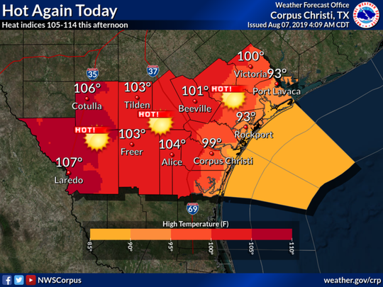 Hot and humid conditions will continue across South Texas today with afternoon heat indices reaching 110-114, according to the National Weather Service on Aug. 7, 2019.