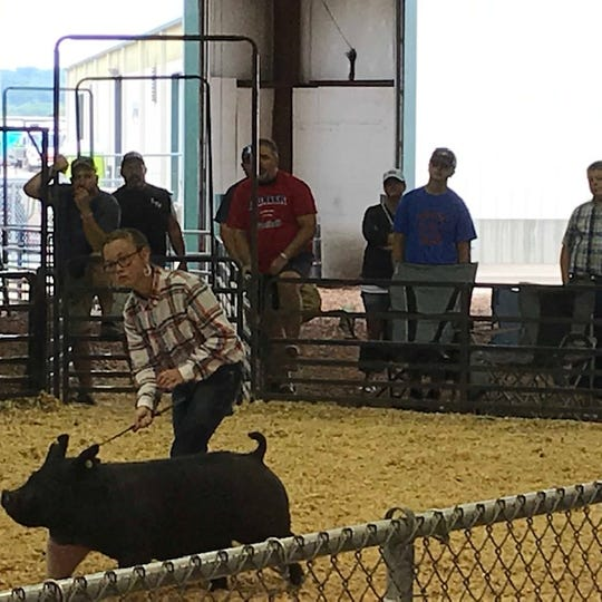 Junior Winner Mackenzie Wheeler competes in the swine showmanship contest on Aug. 7, 2019 at the Ross County Fair.