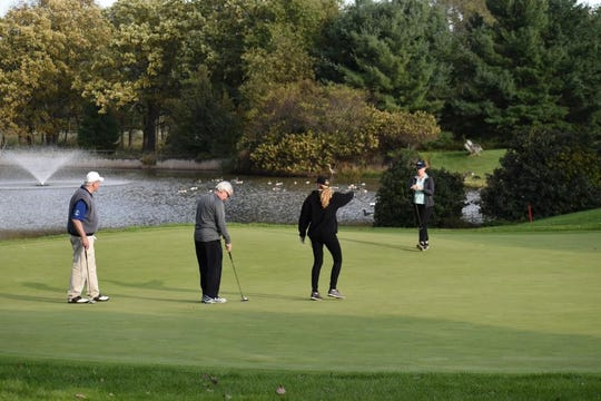 Golfers race to starting tees at a recent Somerset County Business Partnership (SCBP) Golf Outing.