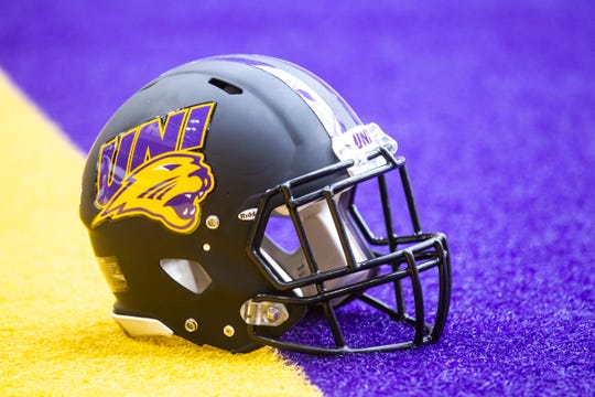 A new Northern Iowa helmet is pictured during the Panthers football media day, Wednesday, Aug. 7, 2019, at the UNI-Dome in Cedar Falls, Iowa.