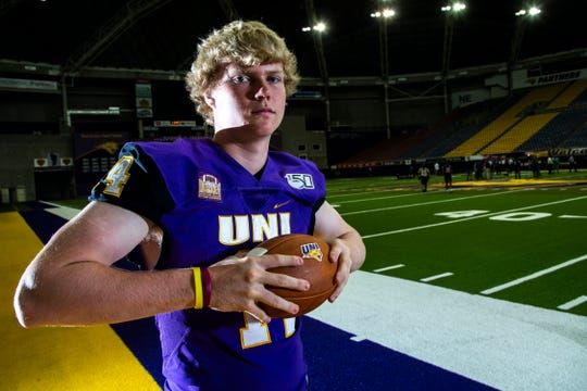 Northern Iowa quarterback Nate Martens (14) poses for a photo during the Panthers football media day, Wednesday, Aug. 7, 2019, at the UNI-Dome in Cedar Falls, Iowa.