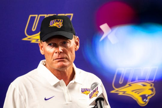 Northern Iowa head coach Mark Farley speaks with reporters during the Panthers football media day, Wednesday, Aug. 7, 2019, at the UNI-Dome in Cedar Falls, Iowa.