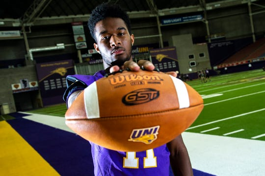 Northern Iowa quarterback Justin Fomby (11) poses for a photo during the Panthers football media day, Wednesday, Aug. 7, 2019, at the UNI-Dome in Cedar Falls, Iowa.