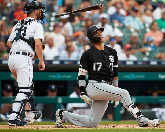 White Sox second baseman Ryan Goins reacts after striking out in the third inning on Wednesday, Aug. 7, 2019, at Comerica Park.