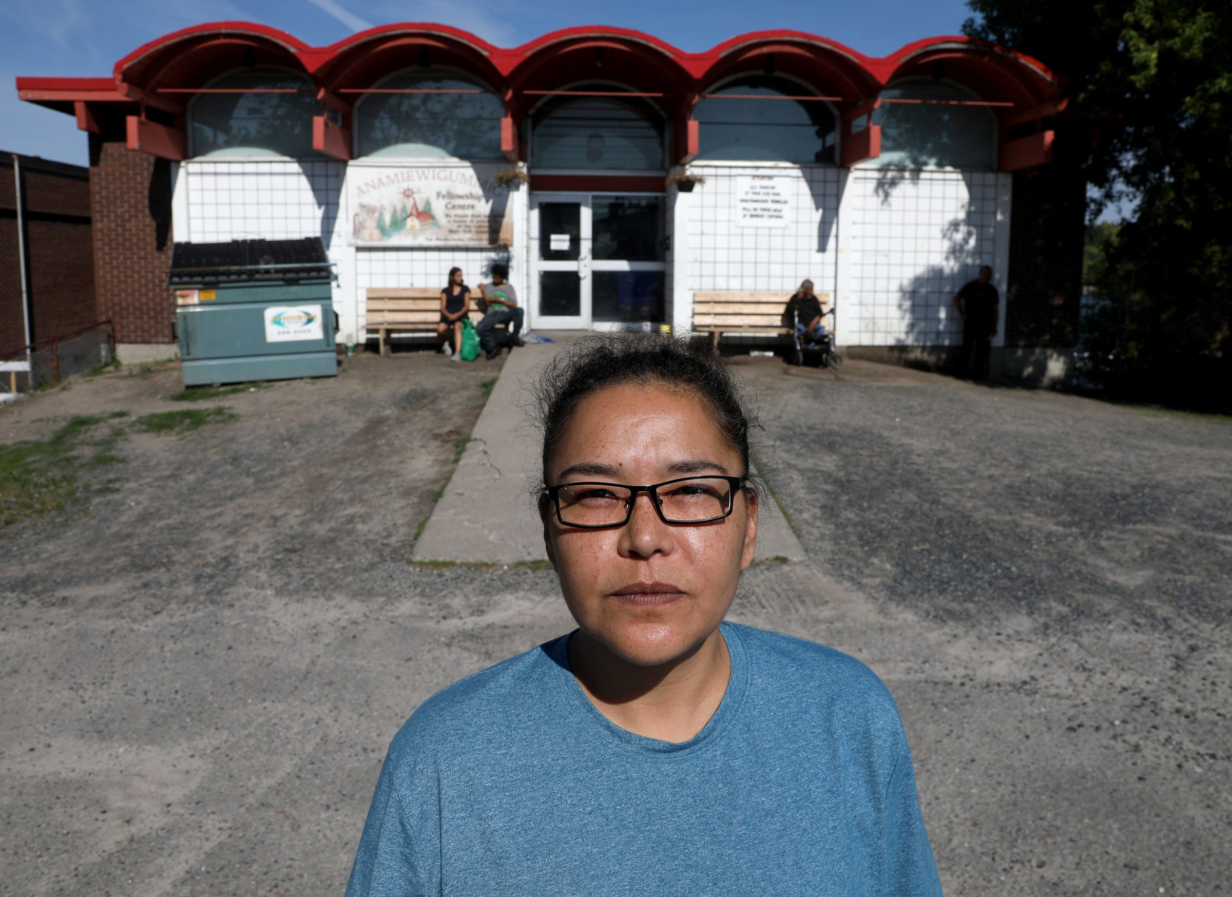 Bernice Albany, who is a supervisor at the Fellowship Centre in Kenora, Ontario, Canada sees Joe Murphy come into the shelter almost every morning or afternoon for a shower, new clothes and something to eat like he did this morning, Thursday, July 11, 2019.After living in a hotel in Kenora, Ontario, Canada set up by former NHL hockey players, former Detroit Red Wings player Joe Murphy is back on the streets of that city and homeless.