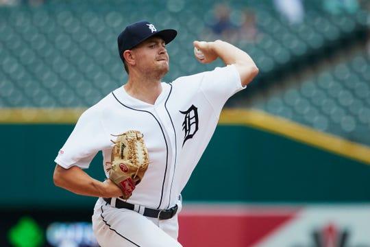 Tigers starting pitcher Tyler Alexander pitches in the first inning on Wednesday, Aug. 7, 2019, at Comerica Park.