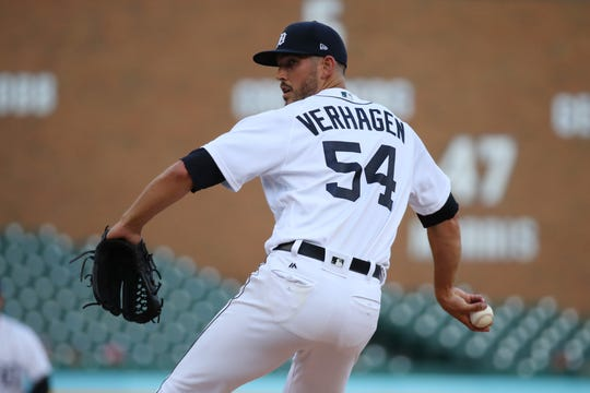Drew VerHagen #54 of the Detroit Tigers throws a first inning pitch while playing the Chicago White Sox at Comerica Park on August 06, 2019 in Detroit, Michigan.