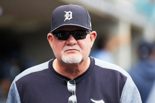 Tigers manager Ron Gardenhire looks on from the dugout during the first inning on Wednesday, Aug. 7, 2019, at Comerica Park.