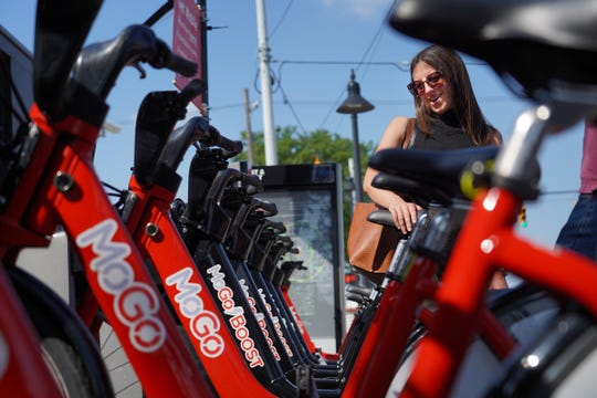 MoGo Founder and executive director Lisa Nuszkowski talks about the new MoGo Boost bike share that help assist riders on Monday, August 5, 2019.