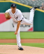 Tigers pitcher Tyler Alexander works in the first inning Wednesday.