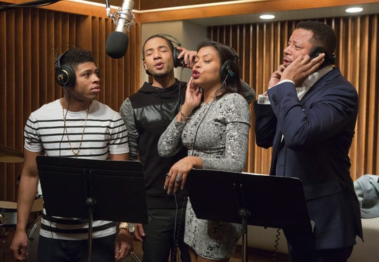 "Bryshere Gray, from left, Jussie Smollett, Taraji P. Henson and Terrence Howard appear in a scene from ""Empire."""