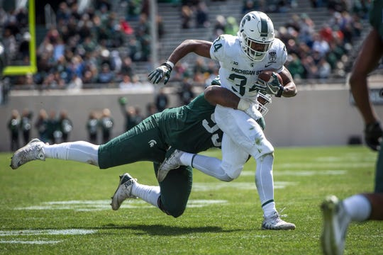 Running back Anthony Williams Jr. (34), a true freshman, stood out in Michigan State's annual spring football game.