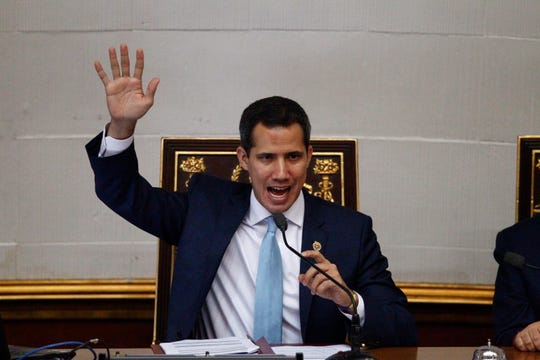 Juan Guaido, Venezuela's opposition leader and self-proclaimed interim president, speaks at the National Assembly in Caracas, Venezuela, Tuesday, Aug. 6, 2019.