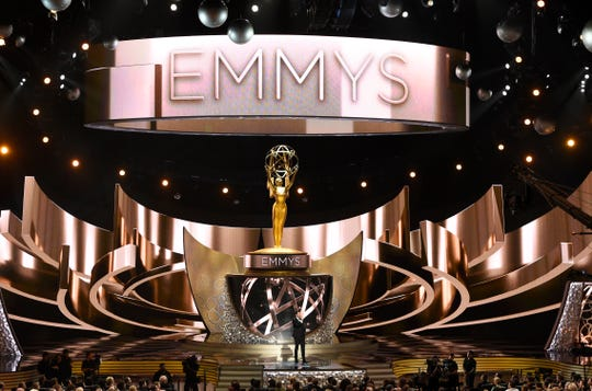 This Sept. 18, 2016 file photo shows the main stage during the 68th Primetime Emmy Awards in Los Angeles.